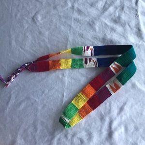 Woven rainbow tie belt